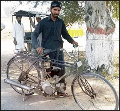 وہاڑی: نوجوان نے پرانی سائیکل کو موٹرسائیکل میں بدل لیا