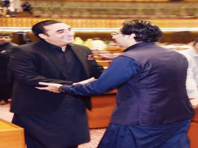 قومی اسمبلی ،بلاول سے مونس الٰہی کی ملاقات ،مصافحہ بھی کیا