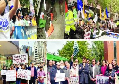 لندن میں بھارتی سفارتخانے کے سامنے ہزاروں افراد کا احتجاج' سکھ بھی شریک ہوئے