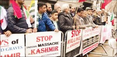 کشمیریوں کیساتھ یکجہتی کیلئے ڈنمارک ، برطانیہ میںمظاہرے، فضا مودی دہشتگرد کے نعروں سے گونج اٹھی