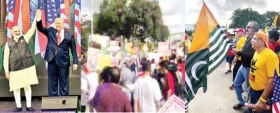 ہیوسٹن میں مودی کا خطاب ، سٹیڈیم کے باہر بڑی احتجاجی ریلی،''گو بیک، کشمیر بنے پاکستان'' کے نعرے