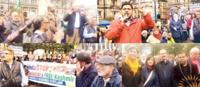گلاسکو: مقبوضہ کشمیر میں بھارتی مظالم کیخلاف احتجاجی مظاہرہ ، ریلی کا انعقاد