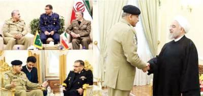 آرمی چیف کی ایرانی صدر سے ملاقات ، روحانی نے دہشتگردی کے خاتمہ کیلئے پاک فوج کے کردار کو سراہا