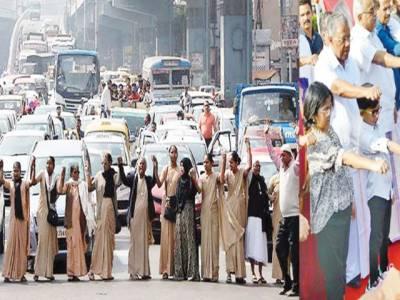 شہریت قانون: کیرالہ میں لاکھوں افراد کی 620 کلو میٹر زنجیر، کئی شہروںمیں ریلیاں