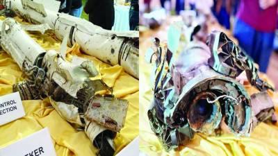 ایف 16گرانے کا بھارتی دعویٰ جھوٹا' پاکستان نے ابھی نندن کے طیارے کا ملبہ پیش کر دیا
