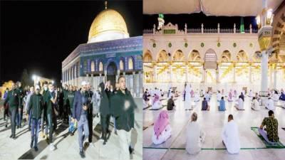 مسجد نبوی، مسجد اقصیٰ کوکھول دیاگیا: نمازیوں کا جوش و خروش